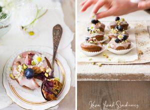 Muffins à l'orange, myrtilles & fleurs